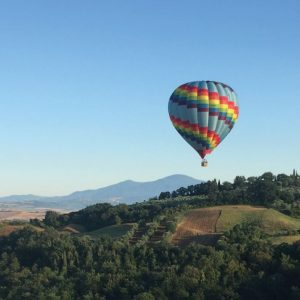 A hot air balloon flight on the Tuscan hills